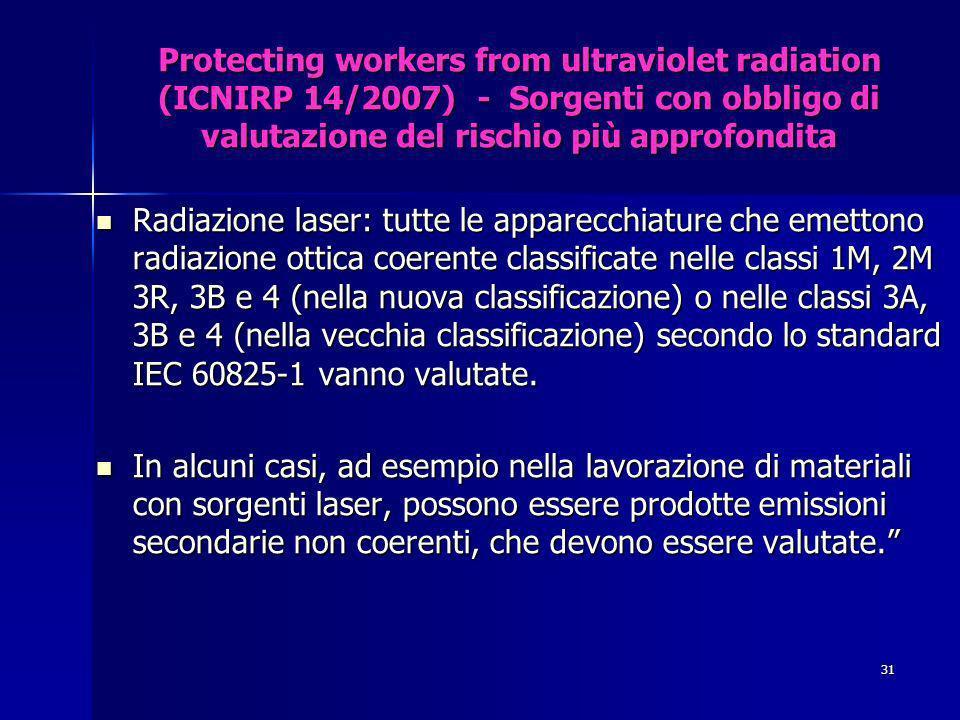 Protecting workers from ultraviolet radiation (ICNIRP 14/2007) - Sorgenti con obbligo di valutazione del rischio più approfondita Radiazione laser: tutte le apparecchiature che emettono radiazione ottica coerente classificate nelle classi 1M, 2M 3R, 3B e 4 (nella nuova classificazione) o nelle classi 3A, 3B e 4 (nella vecchia classificazione) secondo lo standard IEC 60825-1 vanno valutate.