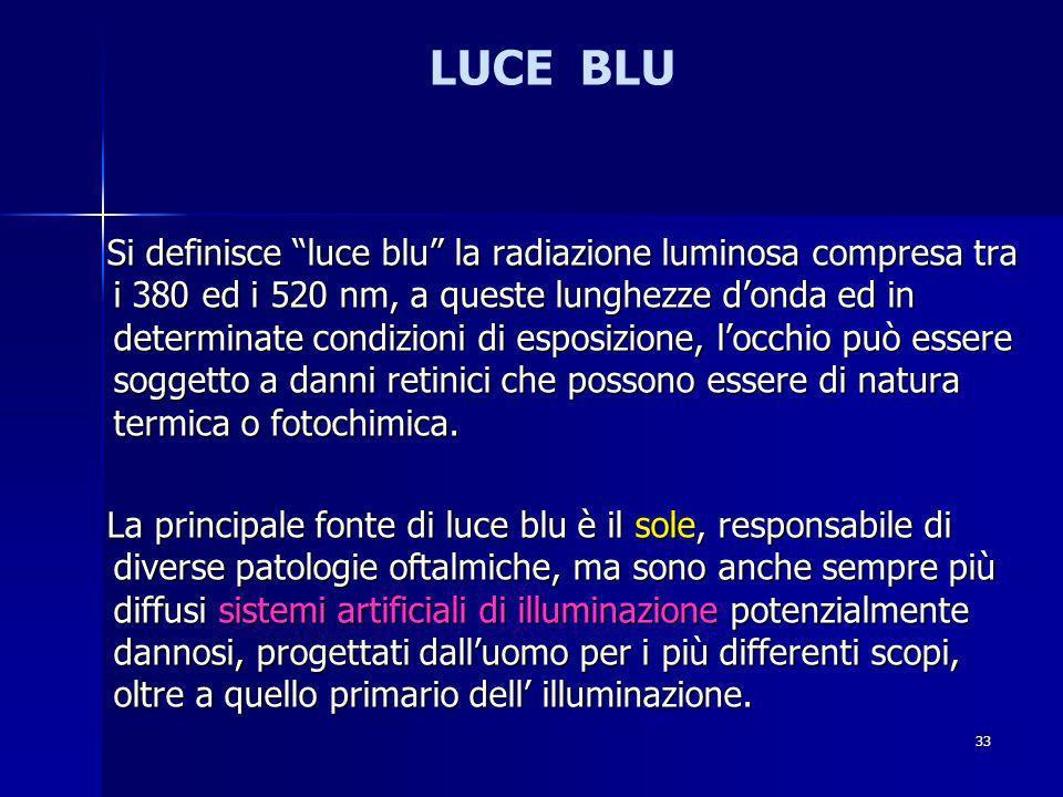 LUCE BLU Si definisce luce blu la radiazione luminosa compresa tra i 380 ed i 520 nm, a queste lunghezze donda ed in determinate condizioni di esposizione, locchio può essere soggetto a danni retinici che possono essere di natura termica o fotochimica.