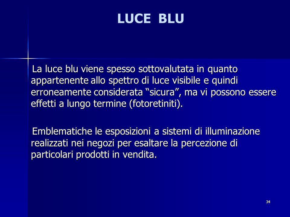 LUCE BLU La luce blu viene spesso sottovalutata in quanto appartenente allo spettro di luce visibile e quindi erroneamente considerata sicura, ma vi possono essere effetti a lungo termine (fotoretiniti).