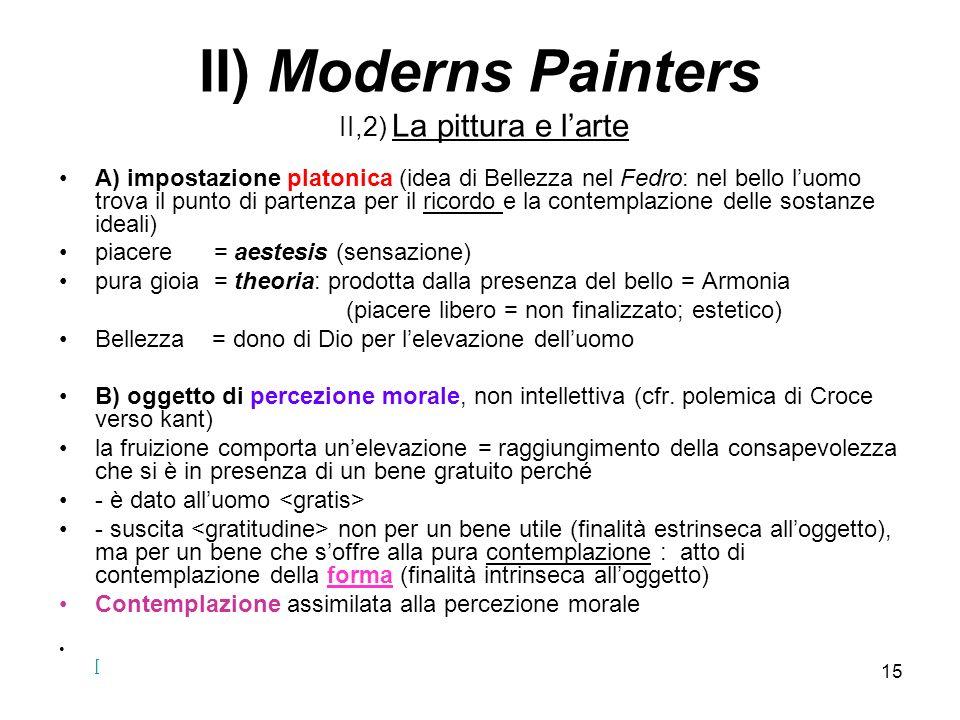 15 II) Moderns Painters II,2) La pittura e larte A) impostazione platonica (idea di Bellezza nel Fedro: nel bello luomo trova il punto di partenza per