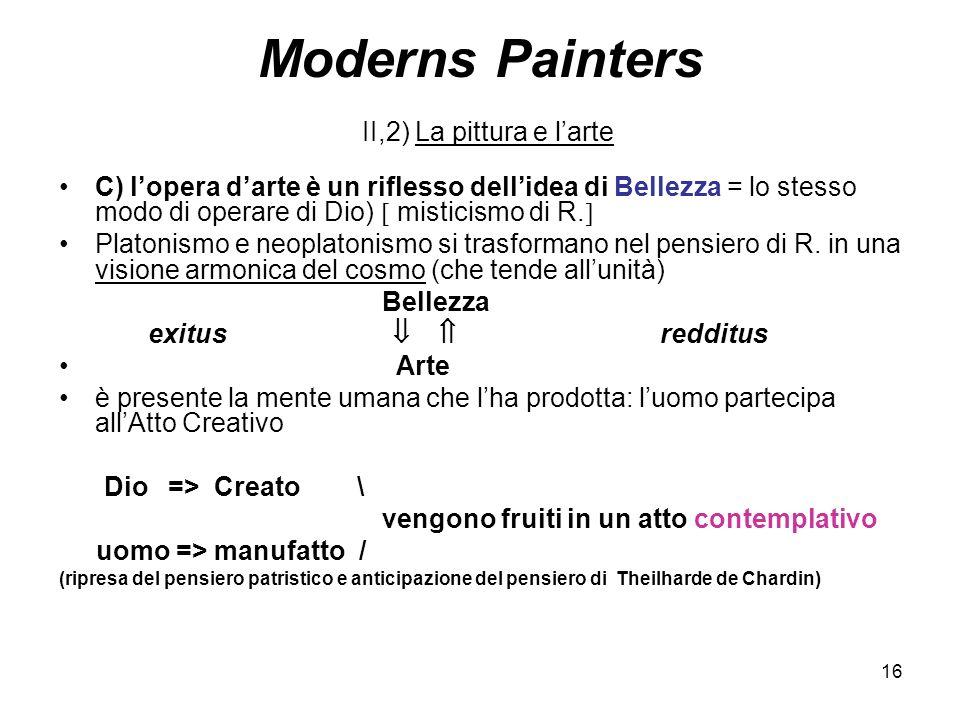 16 Moderns Painters II,2) La pittura e larte C) lopera darte è un riflesso dellidea di Bellezza = lo stesso modo di operare di Dio) misticismo di R. P