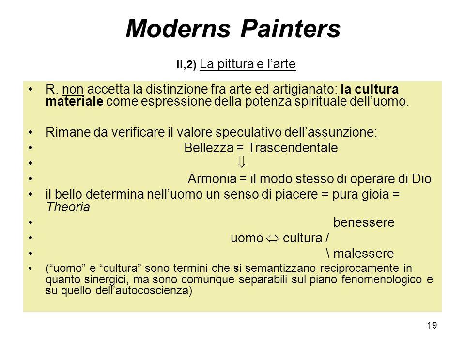 19 Moderns Painters II,2) La pittura e larte R. non accetta la distinzione fra arte ed artigianato: la cultura materiale come espressione della potenz