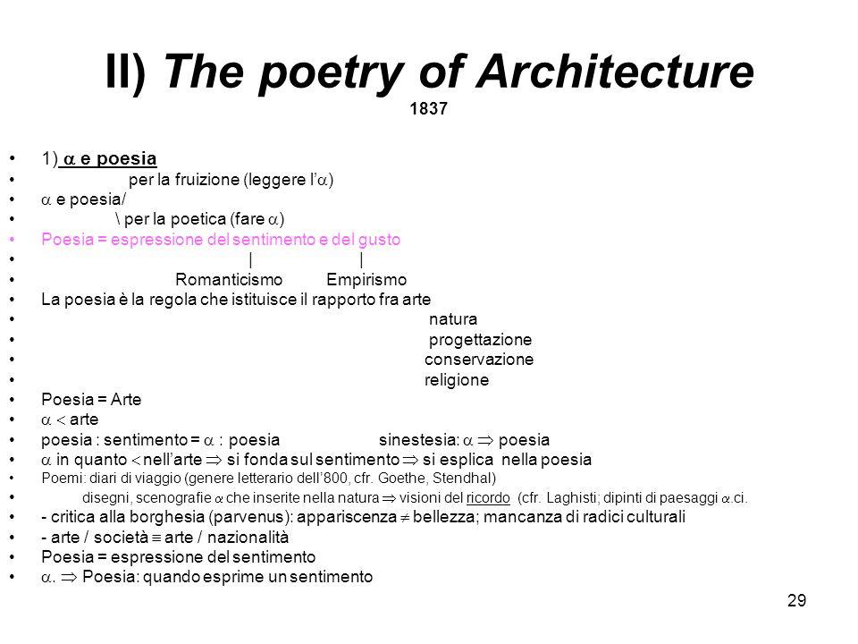 29 II) The poetry of Architecture 1837 1) e poesia per la fruizione (leggere l ) e poesia/ \ per la poetica (fare ) Poesia = espressione del sentiment