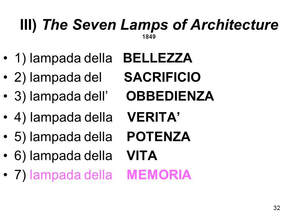 32 III) The Seven Lamps of Architecture 1849 1) lampada della BELLEZZA 2) lampada del SACRIFICIO 3) lampada dell OBBEDIENZA 4) lampada della VERITA 5)