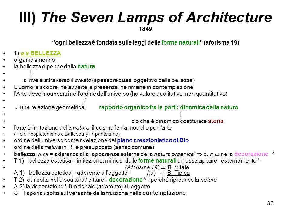 33 III) The Seven Lamps of Architecture 1849ogni bellezza è fondata sulle leggi delle forme naturali (aforisma 19) 1) e BELLEZZA organicismo in. la be