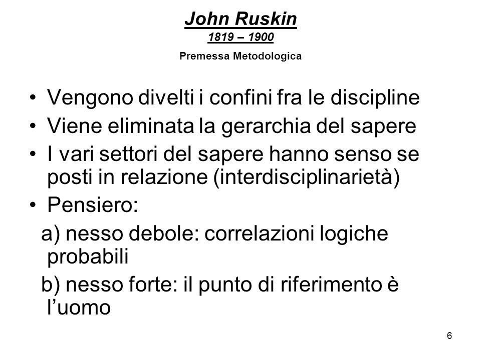 6 John Ruskin 1819 – 1900 Premessa Metodologica Vengono divelti i confini fra le discipline Viene eliminata la gerarchia del sapere I vari settori del