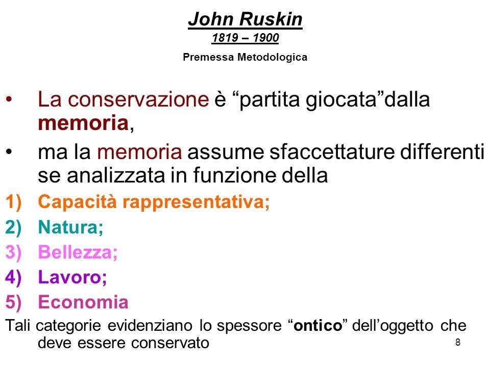 9 John Ruskin 1819 – 1900 Premessa Metodologica Valore delloggetto: fa parte della vita delluomo, è testimone (fa memoria) della sua dignità di essere irripetibile e libero.