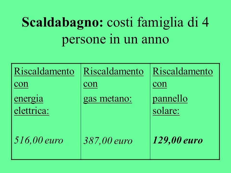 Scaldabagno - Meglio a gas che elettrico -45° estate / 60° inverno -Usare il timer -Manutenzione ogni 2 anni (incrostazioni) -Pannello solare