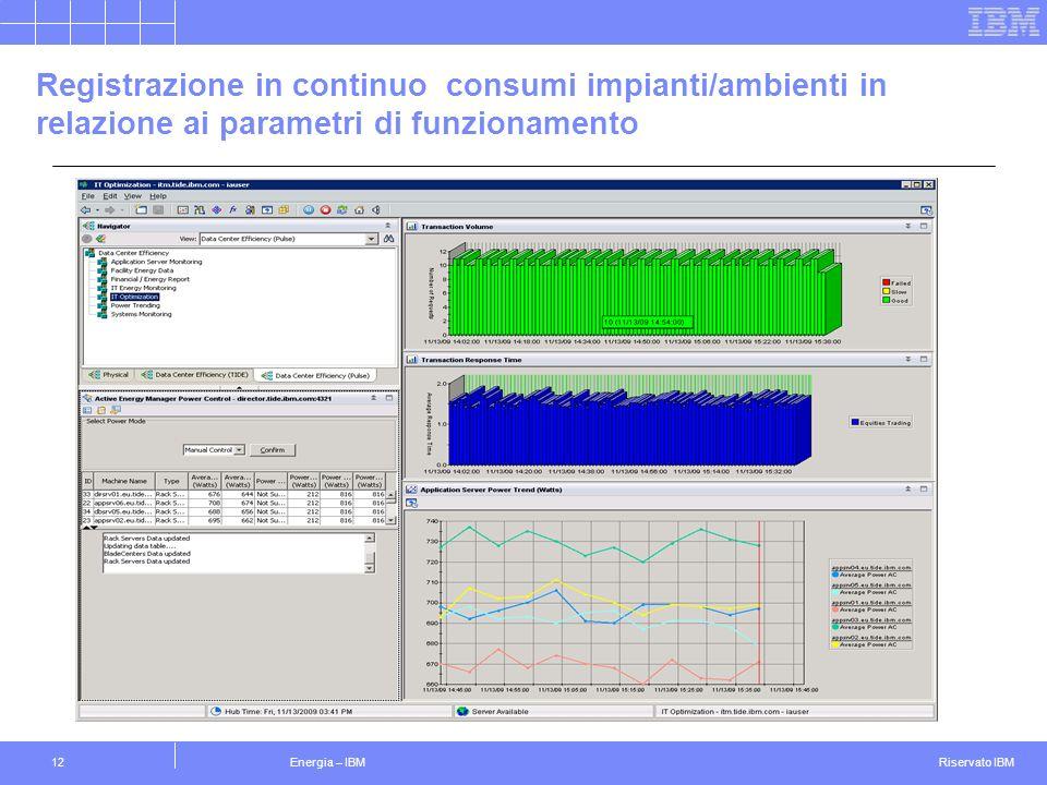 Riservato IBM Energia – IBM12 Registrazione in continuo consumi impianti/ambienti in relazione ai parametri di funzionamento