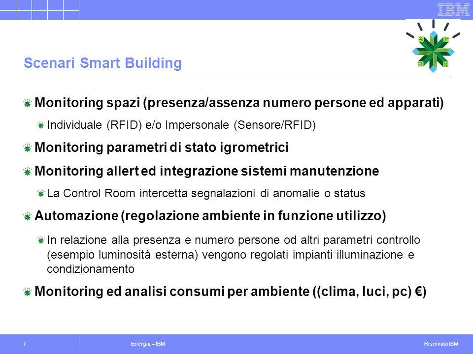 Riservato IBM Energia – IBM7 Scenari Smart Building Monitoring spazi (presenza/assenza numero persone ed apparati) Individuale (RFID) e/o Impersonale