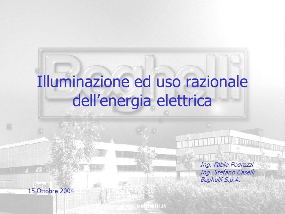 Illuminazione ed uso razionale dellenergia elettrica Ing. Fabio Pedrazzi Ing. Stefano Caselli Beghelli S.p.A. 15 Ottobre 2004
