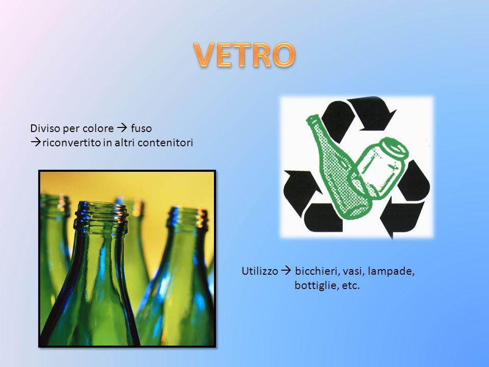 Diviso per colore fuso riconvertito in altri contenitori Utilizzo bicchieri, vasi, lampade, bottiglie, etc.