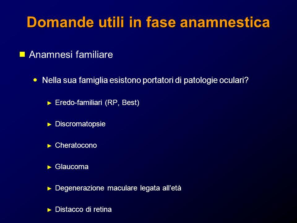 Domande utili in fase anamnestica Anamnesi familiare Nella sua famiglia esistono portatori di patologie oculari? Eredo-familiari (RP, Best) Discromato