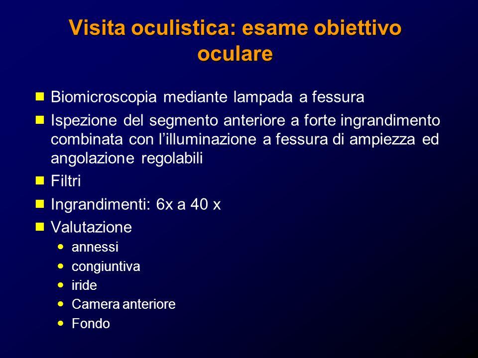 Visita oculistica: esame obiettivo oculare Biomicroscopia mediante lampada a fessura Ispezione del segmento anteriore a forte ingrandimento combinata