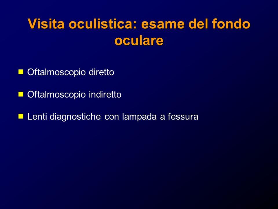 Visita oculistica: esame del fondo oculare Oftalmoscopio diretto Oftalmoscopio indiretto Lenti diagnostiche con lampada a fessura