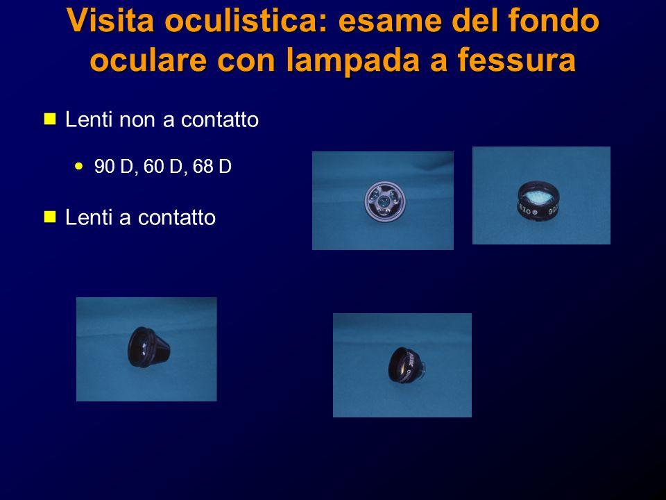 Visita oculistica: esame del fondo oculare con lampada a fessura Lenti non a contatto 90 D, 60 D, 68 D Lenti a contatto