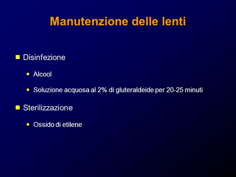 Manutenzione delle lenti Disinfezione Alcool Soluzione acquosa al 2% di gluteraldeide per 20-25 minuti Sterilizzazione Ossido di etilene