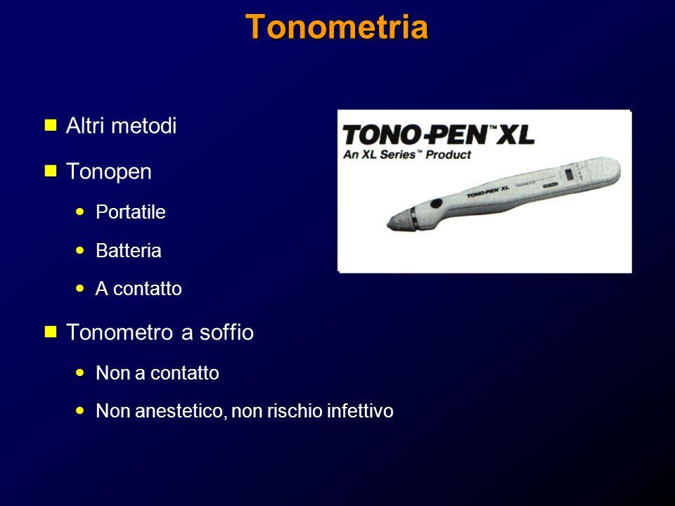 Tonometria Altri metodi Tonopen Portatile Batteria A contatto Tonometro a soffio Non a contatto Non anestetico, non rischio infettivo
