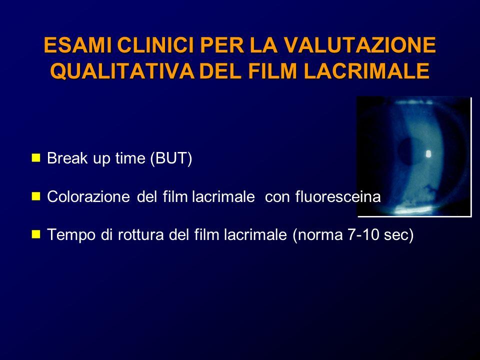 ESAMI CLINICI PER LA VALUTAZIONE QUALITATIVA DEL FILM LACRIMALE Break up time (BUT) Colorazione del film lacrimale con fluoresceina Tempo di rottura d