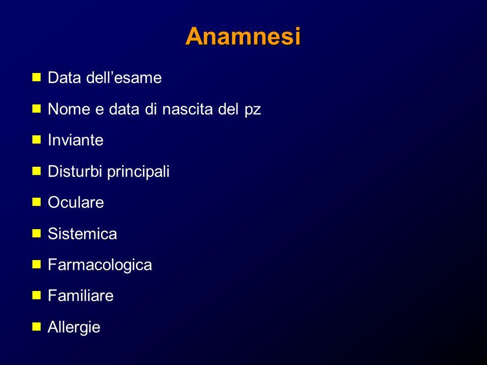 Anamnesi Data dellesame Nome e data di nascita del pz Inviante Disturbi principali Oculare Sistemica Farmacologica Familiare Allergie
