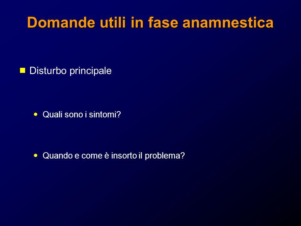 Domande utili in fase anamnestica Disturbo principale Quali sono i sintomi? Quando e come è insorto il problema?