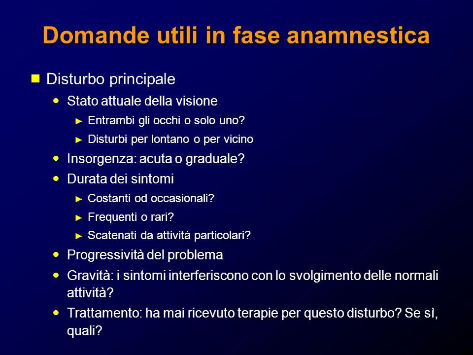 Domande utili in fase anamnestica Anamnesi oculare Porta occhiali o LAC.