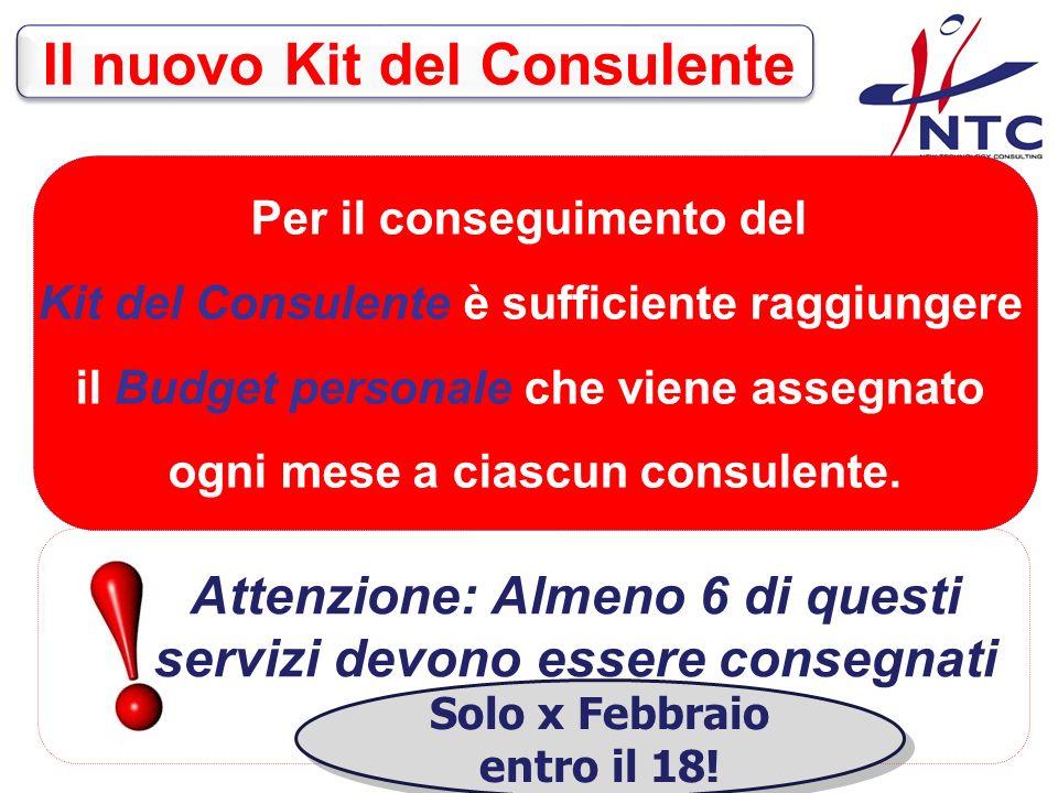 Per il conseguimento del Kit del Consulente è sufficiente raggiungere il Budget personale che viene assegnato ogni mese a ciascun consulente.