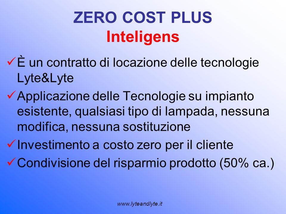 ZERO COST PLUS Inteligens È un contratto di locazione delle tecnologie Lyte&Lyte Applicazione delle Tecnologie su impianto esistente, qualsiasi tipo d
