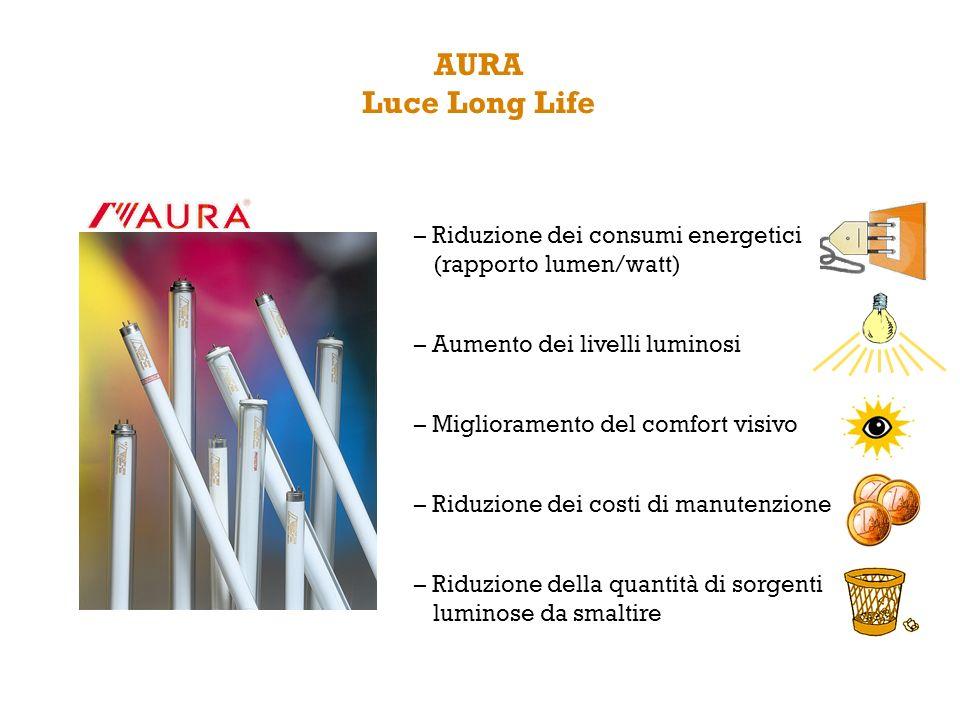– Riduzione dei consumi energetici (rapporto lumen/watt) – Aumento dei livelli luminosi – Miglioramento del comfort visivo – Riduzione dei costi di ma