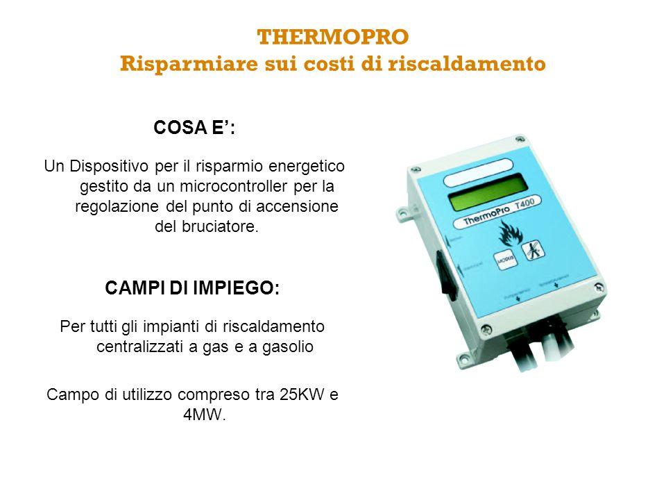 COSA E: Un Dispositivo per il risparmio energetico gestito da un microcontroller per la regolazione del punto di accensione del bruciatore. THERMOPRO