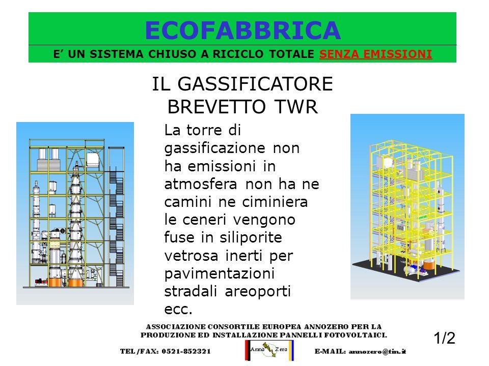 ECOFABBRICA E UN SISTEMA CHIUSO A RICICLO TOTALE SENZA EMISSIONI IL GASSIFICATORE BREVETTO TWR La torre di gassificazione non ha emissioni in atmosfer