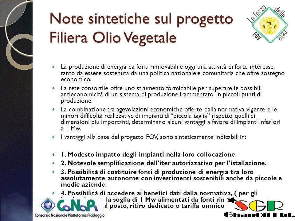 Note sintetiche sul progetto Filiera Olio Vegetale La produzione di energia da fonti rinnovabili è oggi una attività di forte interesse, tanto da essere sostenuta da una politica nazionale e comunitaria che offre sostegno economico.
