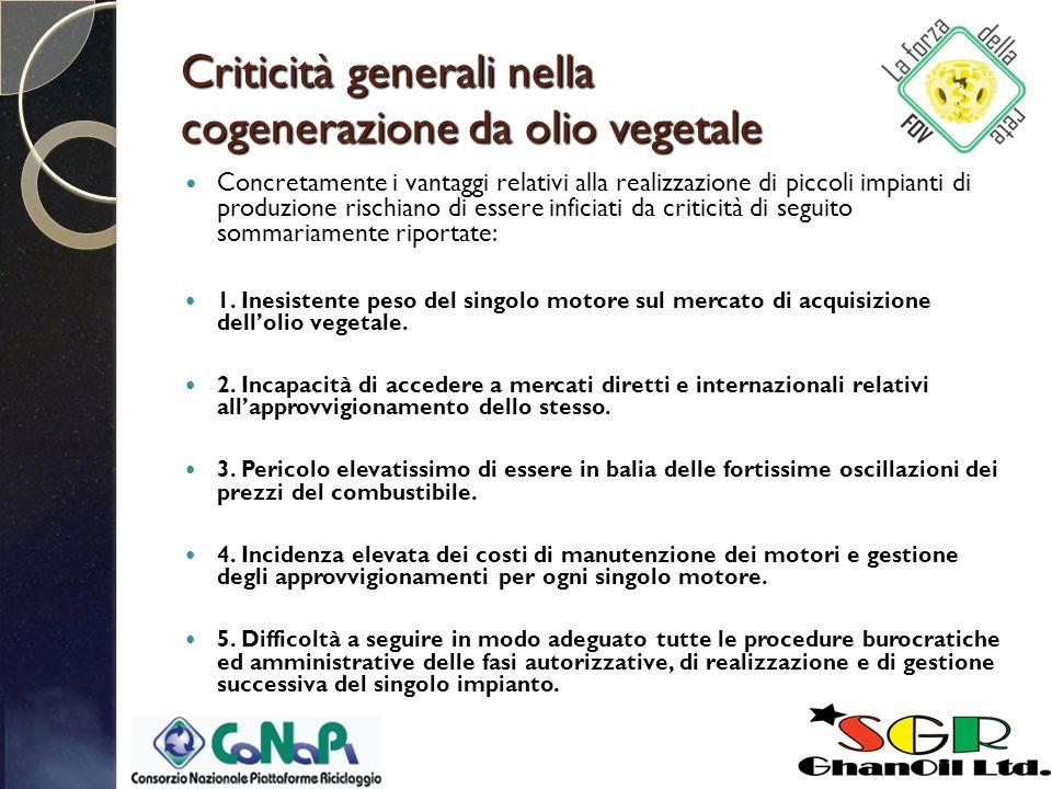 Criticità generali nella cogenerazione da olio vegetale Concretamente i vantaggi relativi alla realizzazione di piccoli impianti di produzione rischiano di essere inficiati da criticità di seguito sommariamente riportate: 1.