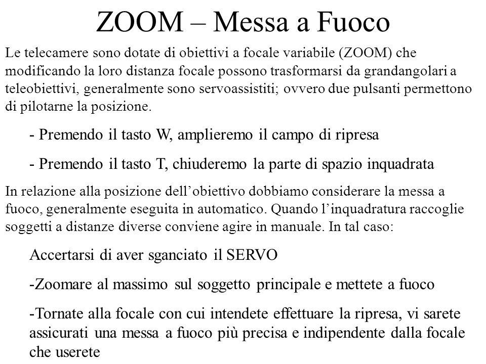 ZOOM – Messa a Fuoco Le telecamere sono dotate di obiettivi a focale variabile (ZOOM) che modificando la loro distanza focale possono trasformarsi da