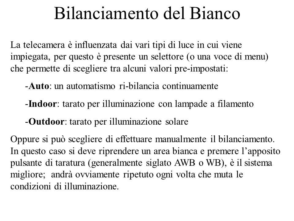 Bilanciamento del Bianco La telecamera è influenzata dai vari tipi di luce in cui viene impiegata, per questo è presente un selettore (o una voce di m