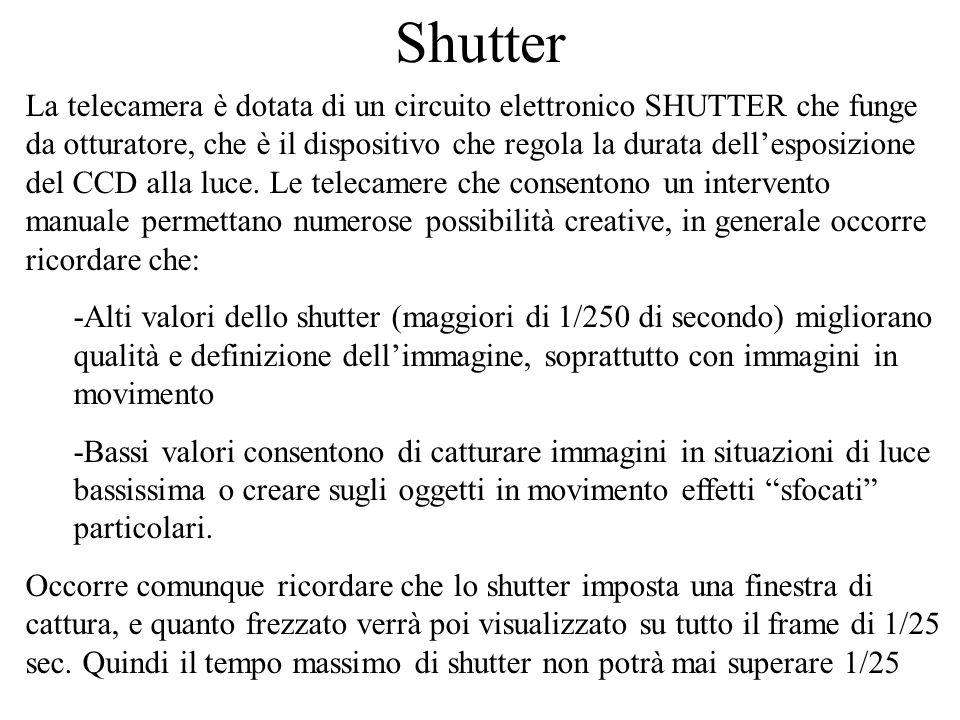 Shutter La telecamera è dotata di un circuito elettronico SHUTTER che funge da otturatore, che è il dispositivo che regola la durata dellesposizione d