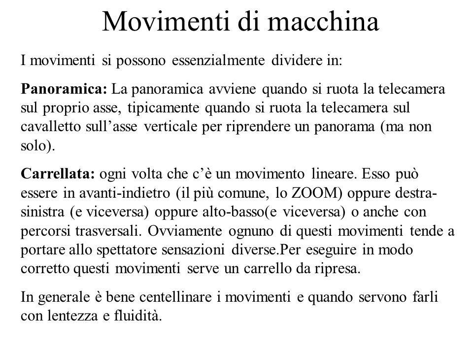 Movimenti di macchina I movimenti si possono essenzialmente dividere in: Panoramica: La panoramica avviene quando si ruota la telecamera sul proprio a