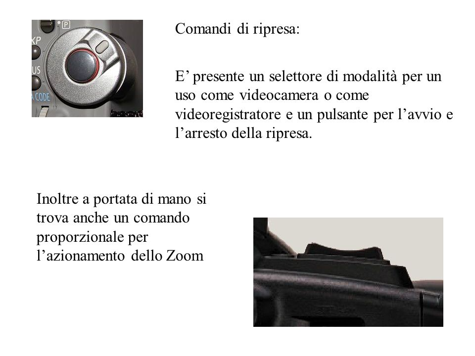 E presente un selettore di modalità per un uso come videocamera o come videoregistratore e un pulsante per lavvio e larresto della ripresa. Comandi di
