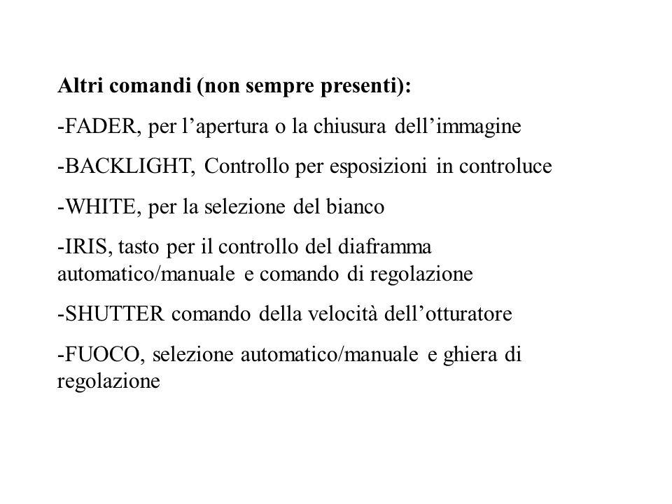 Altri comandi (non sempre presenti): -FADER, per lapertura o la chiusura dellimmagine -BACKLIGHT, Controllo per esposizioni in controluce -WHITE, per