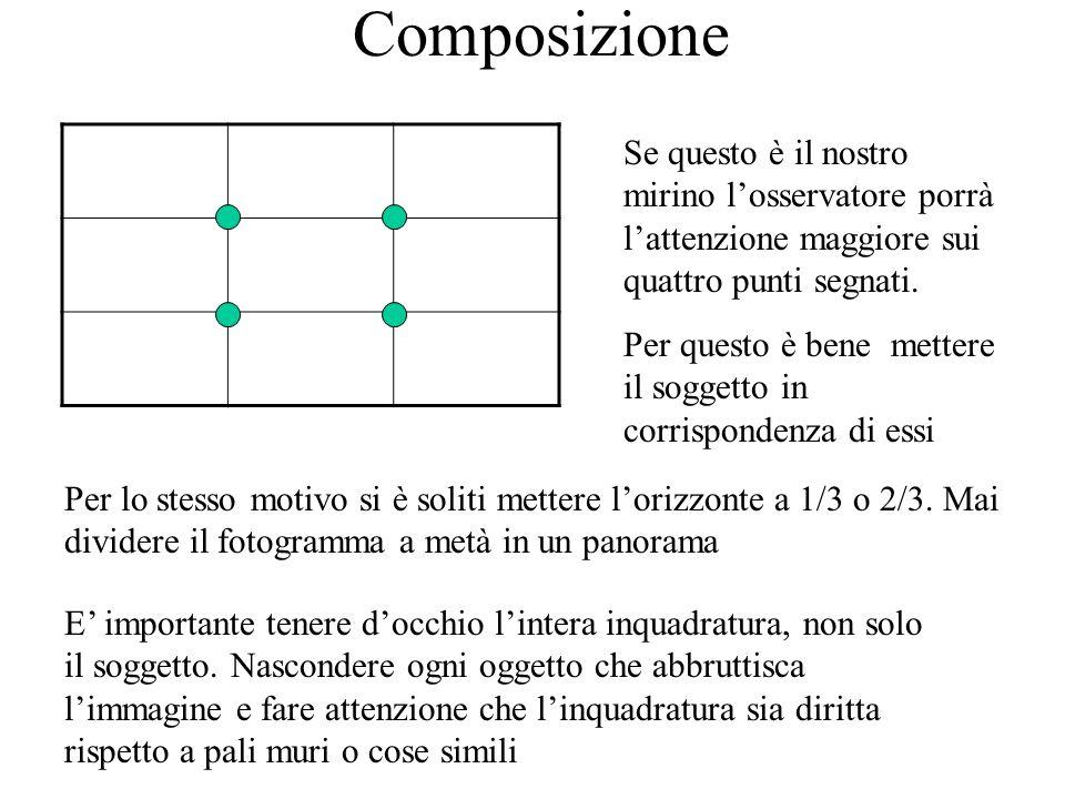 Cercate di seguire queste semplici regole: -Se il soggetto in primo piano guarda verso sinistra, lasciate aria a sinistra dellinquadratura,analogamente per la destra, per basso-sinistra e così via.