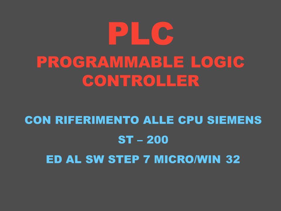 PLC PROGRAMMABLE LOGIC CONTROLLER CON RIFERIMENTO ALLE CPU SIEMENS ST – 200 ED AL SW STEP 7 MICRO/WIN 32