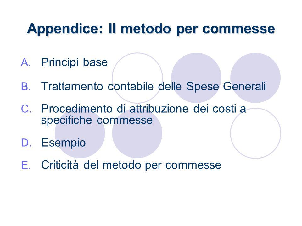 Appendice: Il metodo per commesse A. Principi base B. Trattamento contabile delle Spese Generali C. Procedimento di attribuzione dei costi a specifich