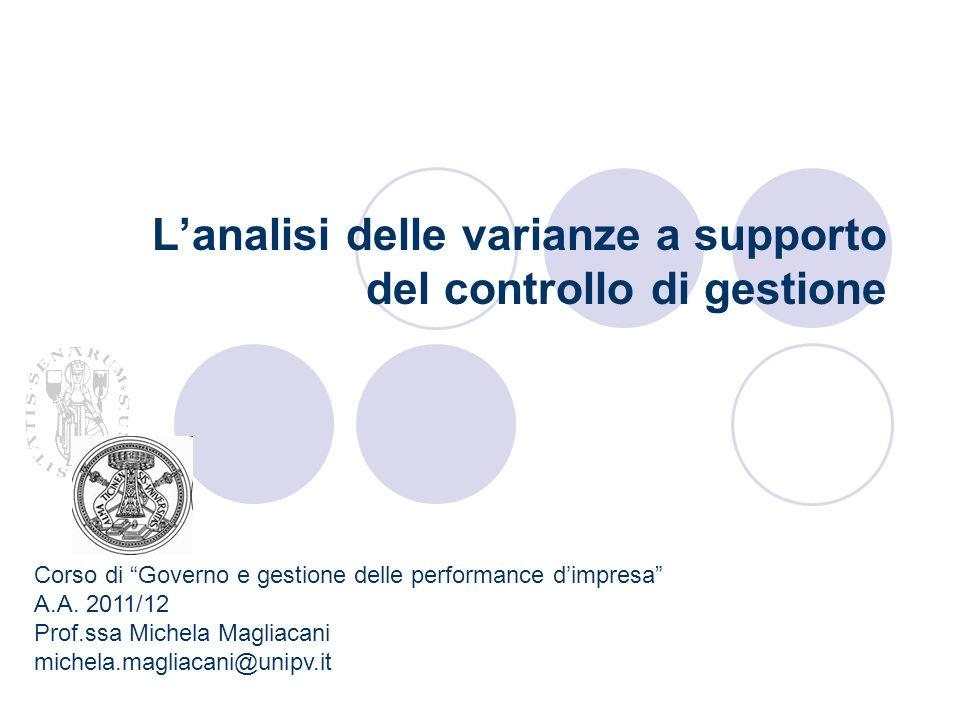 Lanalisi delle varianze a supporto del controllo di gestione Corso di Governo e gestione delle performance dimpresa A.A. 2011/12 Prof.ssa Michela Magl