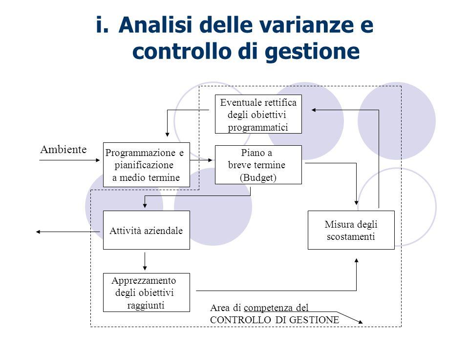 i.Analisi delle varianze e controllo di gestione Programmazione e pianificazione a medio termine Eventuale rettifica degli obiettivi programmatici Pia