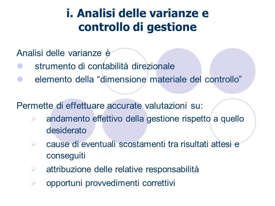i. Analisi delle varianze e controllo di gestione Analisi delle varianze è strumento di contabilità direzionale elemento della dimensione materiale de
