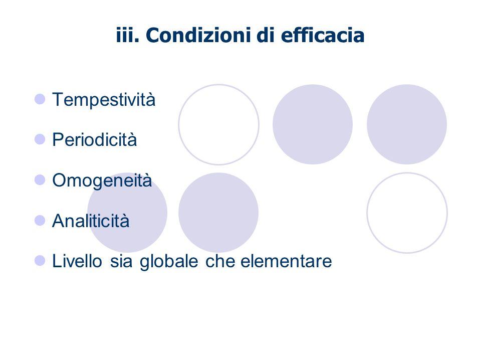 iii. Condizioni di efficacia Tempestività Periodicità Omogeneità Analiticità Livello sia globale che elementare