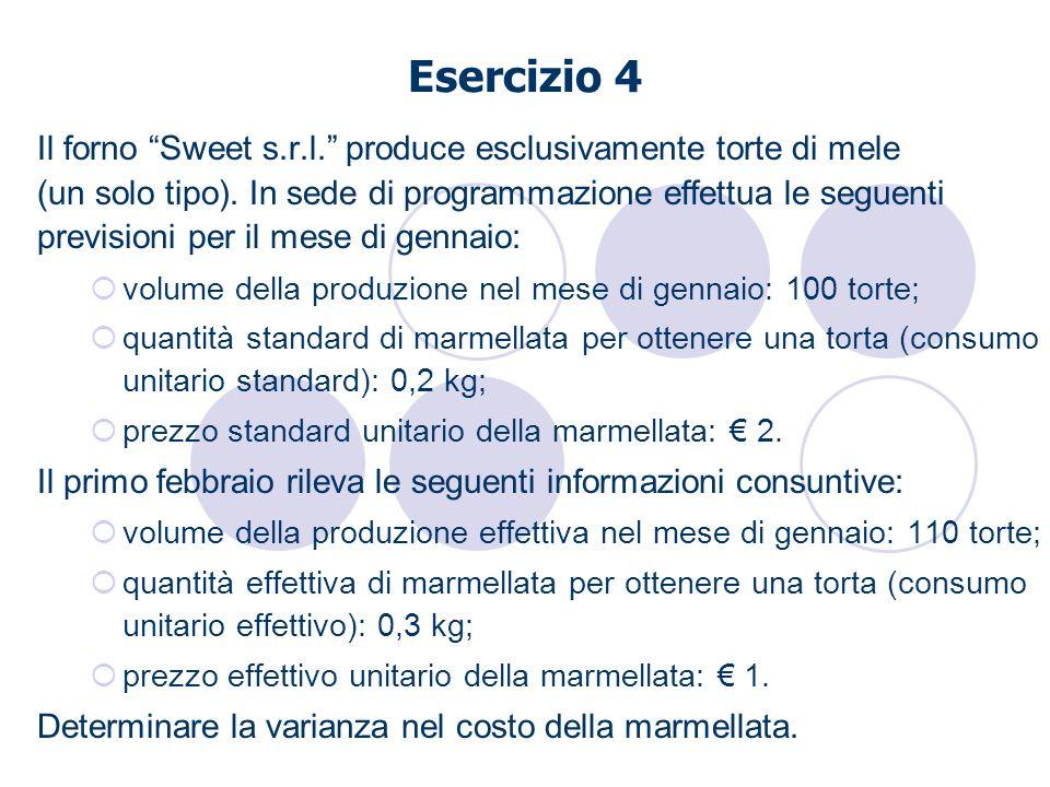 Esercizio 4 Il forno Sweet s.r.l. produce esclusivamente torte di mele (un solo tipo). In sede di programmazione effettua le seguenti previsioni per i