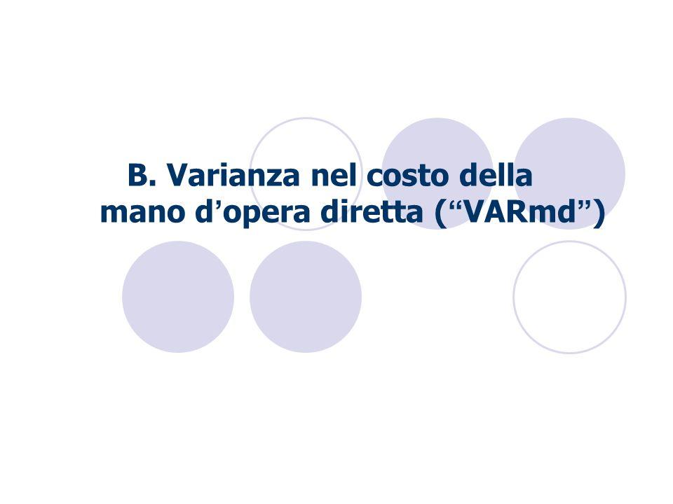 B. Varianza nel costo della mano d opera diretta ( VARmd )