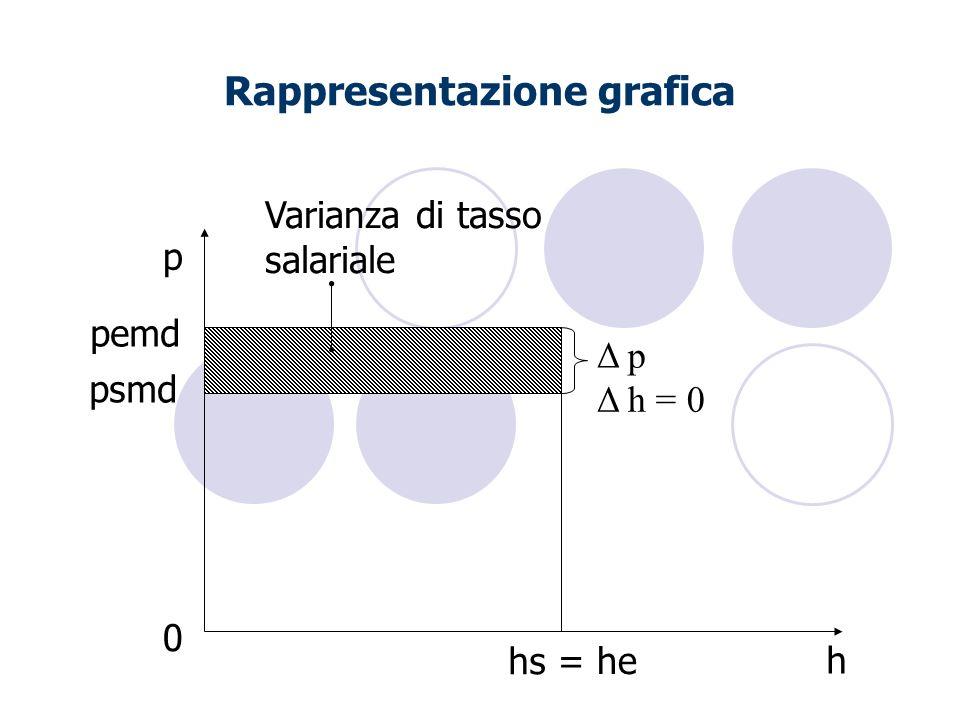 Rappresentazione grafica h p Δ h = 0 psmd Δ p 0 Varianza di tasso salariale pemd hs = he