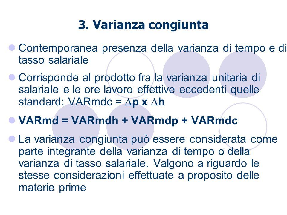 3. Varianza congiunta Contemporanea presenza della varianza di tempo e di tasso salariale Corrisponde al prodotto fra la varianza unitaria di salarial